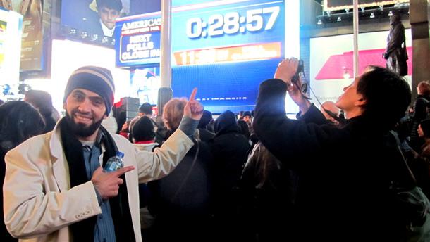 عشية الانتخابات الأمريكية في الساحة الرئيسية مانهاتن - نيويورك