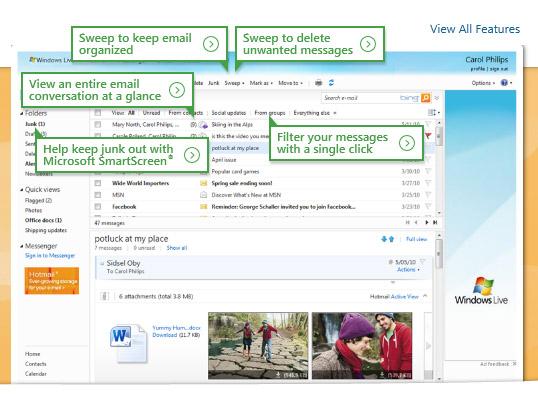 الشكل الجديد لصفحة البريد Hotmail - خدمات مميزة وتحذيرات هامة